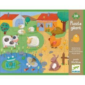 Įvairių tekstūrų fermos gyvūnų dėlionė DJECO vaikams nuo 3 metų, 20 detalių (DJ07117)