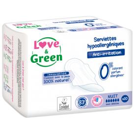 Ekologiški higieniniai paketai nakčiai LOVE&GREEN, 10 vnt.
