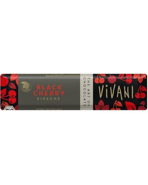 "Ekologiškas juodasis šokoladas VIVANI ""Black cherry"", 35 g"