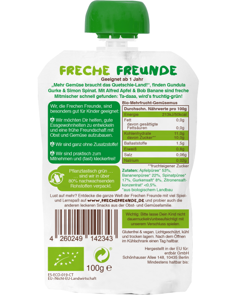 Ekologiška obuolių, bananų, špinatų ir agurkų tyrelė FRECHE FREUNDE, 100 g 2