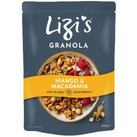 """Sausi pusryčiai su mangais ir makadamijų riešutais LIZI'S """"Granola"""", 400 g"""