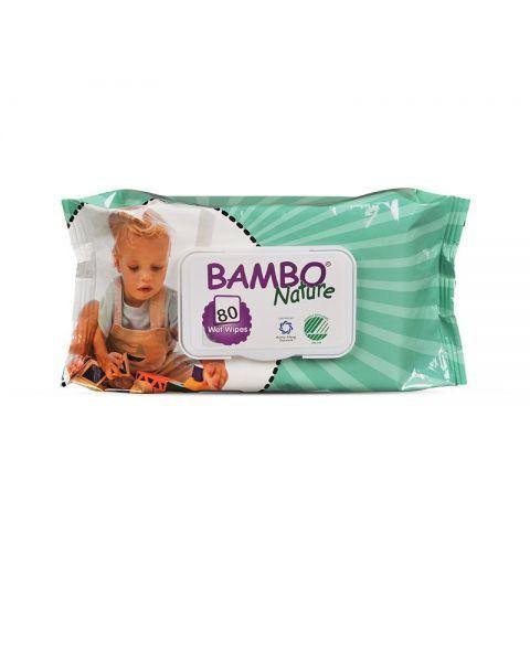 Drėgnos servetėlės vaikams BAMBO Nature su alavijų ekstraktu, 80 vnt.