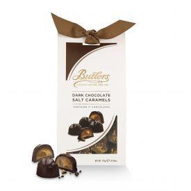 Juodojo šokolado saldainių rinkinys BUTLERS su sūrios karamelės įdaru, 170 g