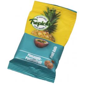 Džiovintų ananasų, pasiflorų rutuliukai TROPICKS, 54g