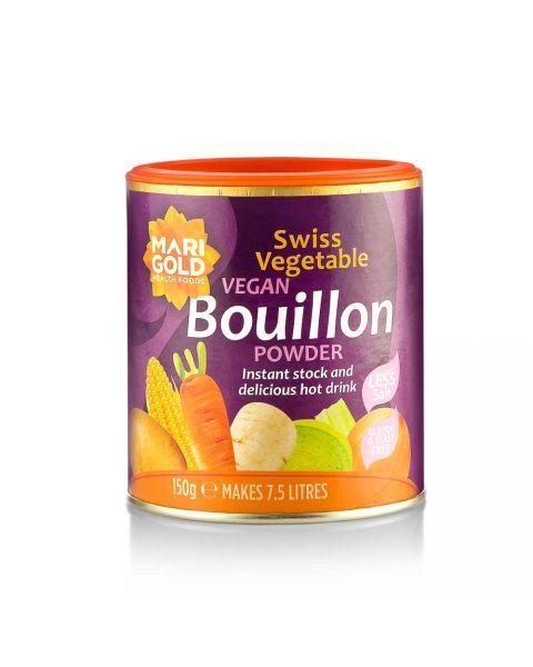 MARIGOLD tirpus šveicariškas daržovių sultinys veganams, silpnai sūdytas (violetinė dėžutė), neto masė 150g