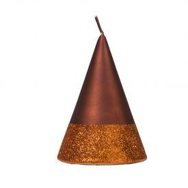 "Namų žvakė CANDELE FIRENZE ""Rust Velvet/Band Copper Glitter Cono"", 150x100 mm, 36 h, 1 vnt."