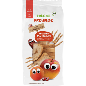 Ekologiški spelta miltų džiūvėsėliai su įvairiais vaisiais vaikams FRECHE FREUNDE, 100 g