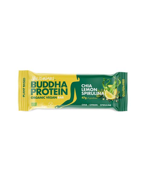 Batonėlis su čija sėklomis, citrina ir spirulina ISWARI Buddha Protein, 35 g