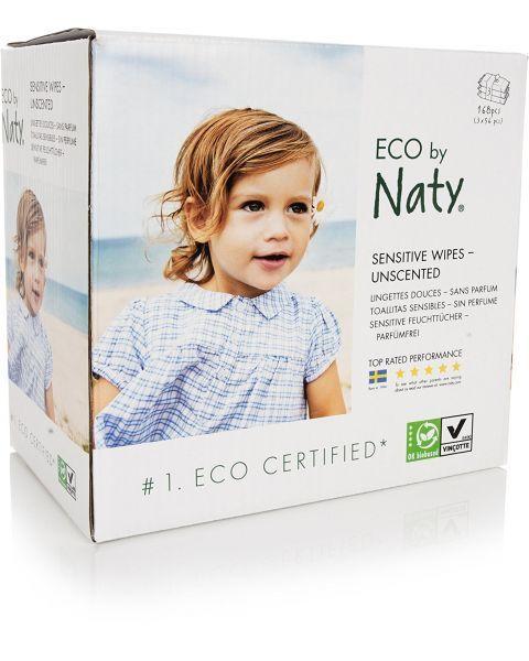 Ekologiškos, bekvapės, itin storos ir minkštos drėgnos servetėlės NATY Sensitive, 3 x 56 vnt.