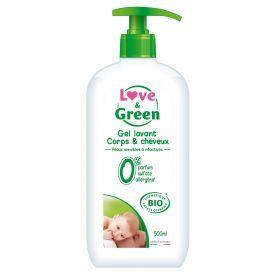 Ekologiškas kūno ir plaukų prausiklis kūdikiams LOVE&GREEN, 500 ml