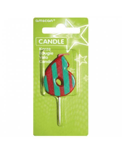 Žvakutė-skaičiukas 6 AMSCAN Dots & Stripes, 7.6 cm