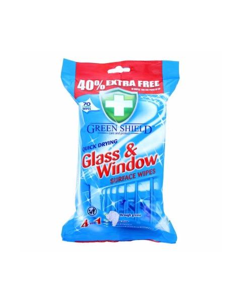 Servetėlės stikliniams paviršiams ir langams GREEN SHIELD, 70 vnt