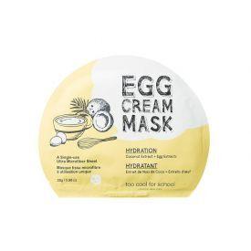 Drėkinamoji veido kaukė su kokosų ekstraktu TOO COOL FOR SCHOOL Egg Cream (28 g), 1 vnt.