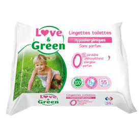 Nuleidžiamos į kanalizaciją servetėlės kūdikiams LOVE&GREEN, 55 vnt.