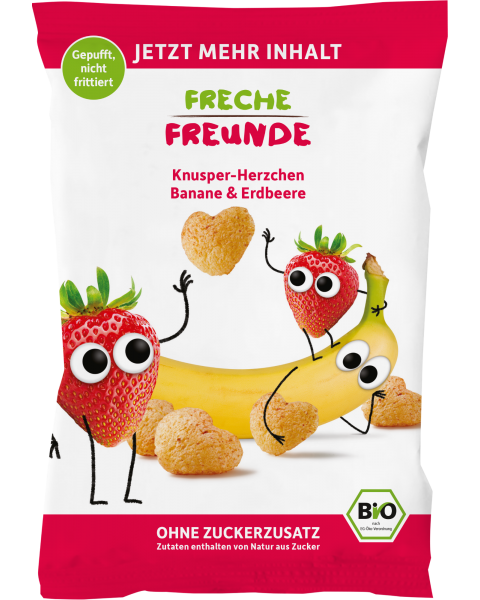 Ekologiški kukurūzai su braškėmis ir bananais FRECHE FREUNDE, 30 g