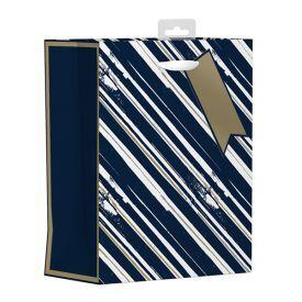 Mėlynas dryžuotas dovanų maišelis GIFTMAKER,  22x27 cm, 1 vnt.