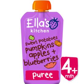 Ekologiška saldžiųjų bulvių, moliūgo, obuolių ir mėlynių tyrelė ELLA'S KITCHEN kūdikiams nuo 4 mėn., 120 g