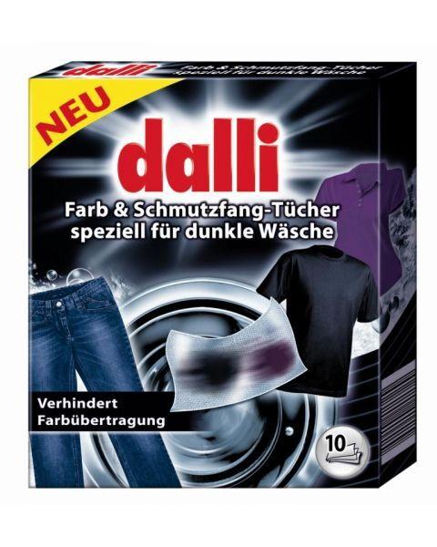 Spalvą saugančios ir sugeriančios purvą skalbinių servetėlės tamsiems bei juodiems rūbams DALLI 10 vnt
