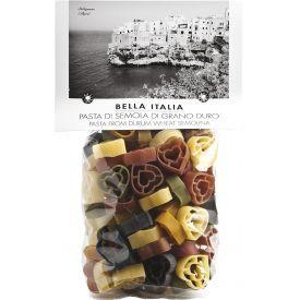 Spalvoti makaronai BELLA ITALIA širdelės, 250 g