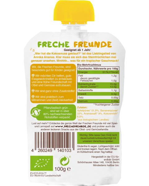 Ekologiška obuolių, bananų, ananasų ir kokosų tyrelė FRECHE FREUNDE, 100 g 2