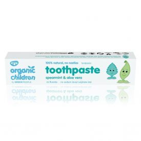 Befluorė dantų pasta vaikams GREEN PEOPLE su mėtomis ir alijošiumi, 50 ml