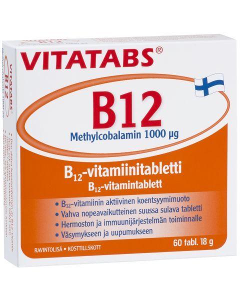 Maisto papildas nervų sistemai VITATABS B12 Methylcobalamin 1000 μg, 60 tab.