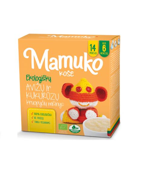 Ekologiškų avižų ir kukurūzų kruopyčių mišinys košei MAMUKO vaikams nuo 6 mėn., 240 g