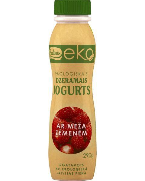 Ekologiškas geriamasis jogurtas BALTAIS su žemuogėmis, 290g