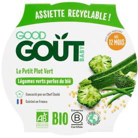 Ekologiškas žaliųjų daržovių ir  perlinių kviečių troškinys GOOD GOUT, 220g., nuo 12 mėnesių