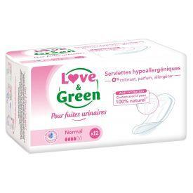 Vidutinio dydžio higieniniai paketai šlapimo nelaikymui LOVE&GREEN, 12 vnt.