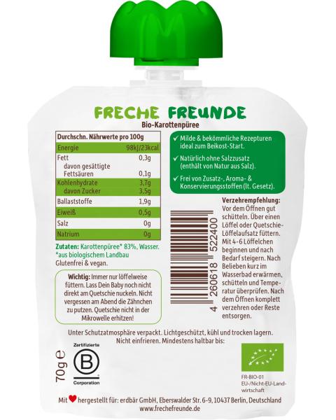 Ekologiška morkų tyrelė FRECHE FREUNDE, nuo 5 mėn., 70 g 2