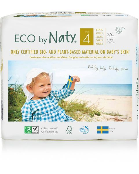 Sauskelnės EKO by NATY 4 Maxi 7-18 kg vaikams, 26 vnt.