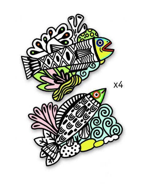 Velvetu dekoruota spalvinimo juosta DJECO Pretty Fishes (DJ09098) 2