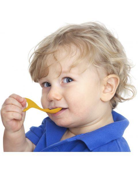 Šaukšteliai I CAN su daugiafunkcine laikymo rankena vaikams nuo 1 metų (geltonas ir baltas) 4