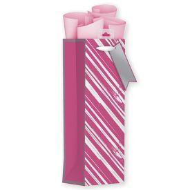 Pailgas dovanų maišelis GIFTMAKER su rožiniais ir sidabriniais dryžiais, 12.5x36 cm, 1 vnt.