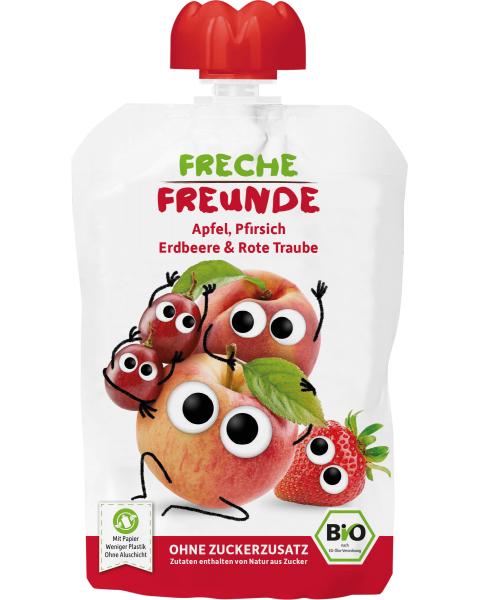 Ekologiška obuolių, persikų, braškių ir vyšnių tyrelė FRECHE FREUNDE, 100 g
