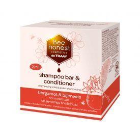 Kietasis plaukų šampūnas ir kondicionierius su bergamotėmis ir bičių vašku BEEHONEST, 80 g