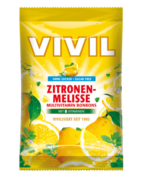 Melisos ir citrinų skonio saldainiai VIVIL be cukraus, 60 g