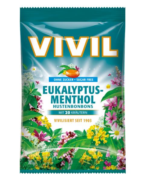 Eukaliptų ir mentolio skonio saldainiai VIVIL be cukraus, 60 g