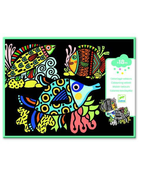 Velvetu dekoruota spalvinimo juosta DJECO Pretty Fishes (DJ09098)
