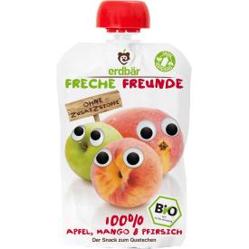 Ekologiška obuolių, mangų ir persikų tyrelė FRECHE FREUNDE, 100 g