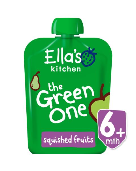 Ekologiška obuolių, kriaušių, bananų ir kivi tyrelė ELLA'S KITCHEN The Green One vaikams nuo 6 mėn., 90 g