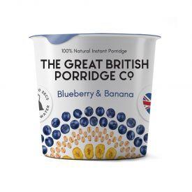Greito paruošimo avižinė košė THE GREAT BRITISH PORRIDGE su mėlynėmis ir bananais indelyje, 60 g