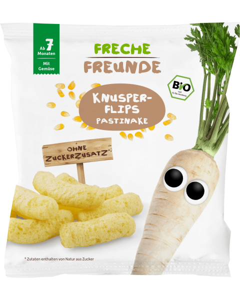 Ekologiški kukurūzai FRECHE FREUNDE su pastarnokais, nuo 7 mėn., 20 g