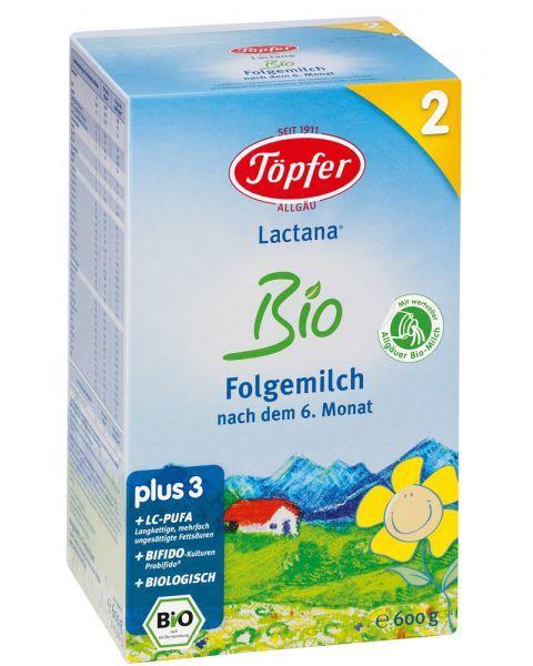 Ekologiškas probiotinis tolesnio maitinimo pieno mišinys TÖPFER Lactana Bio 2 kūdikiams nuo 6 mėn., 600 g