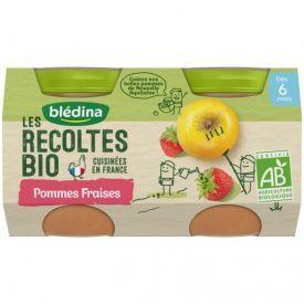 Obuolių ir braškių tyrelė BLEDINA nuo 6 mėn., 2x130 g