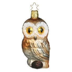 """Rankų darbo kalėdinis žaisliukas INGE-GLAS® """"Naktinė pelėda"""", 10 cm, 1 vnt."""