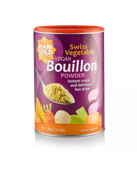 MARIGOLD tirpus šveicariškas daržovių sultinys veganams, silpnai sūdytas (violetinė dėžutė), neto masė 1kg