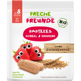 Ekologiški sausainiai FRECHE FREUNDE su spelta ir braškėmis, nuo 8 mėn., 100 g