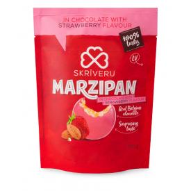 Marcipaniai saldainiai su braškių skonio baltuoju šokoladu SKRIVERU, 150g